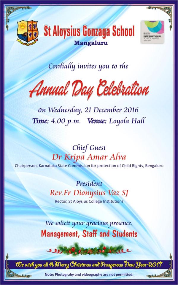 St Aloysius Gonzaga School Mangalore Annual Day December